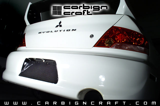 Carbon Fiber License Plate Frame: Mitsubishi Evolution 2003-